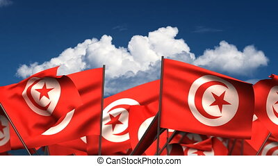 Waving Tunisian Flags seamless alpha channel