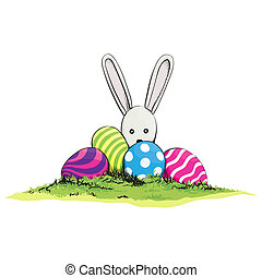 Cute easter rabbit with egg
