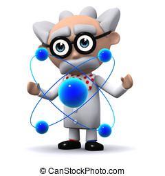 3d Scientist working with atoms - 3d render of a scientist...