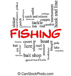 Fishing Word Cloud Concept in red caps with great terms such...