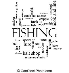Fishing Word Cloud Concept in black and white with great...