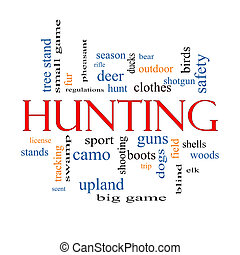 Hunting Word Cloud Concept with great terms such as shotgun,...