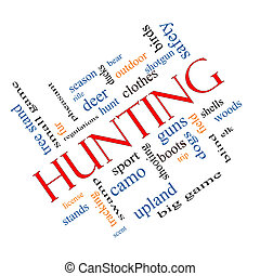 Hunting Word Cloud Concept angled with great terms such as...