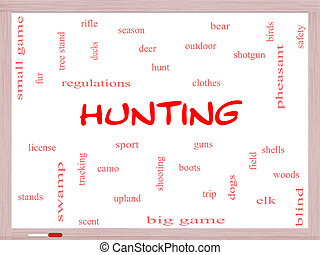 Hunting Word Cloud Concept on a Whiteboard with great terms...