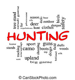 Hunting Word Cloud Concept in red caps with great terms such...