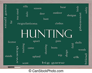 Hunting Word Cloud Concept on a Blackboard with great terms...