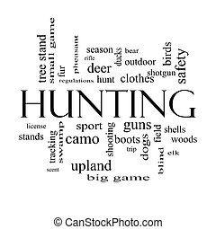 Hunting Word Cloud Concept in black and white with great...