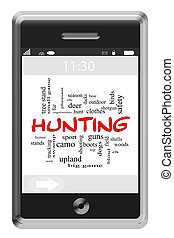 Hunting Word Cloud Concept on Touchscreen Phone - Hunting...