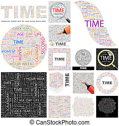 Time Concept illustration - Time Word cloud illustration...