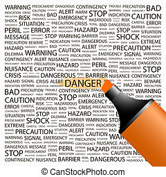 DANGER Concept illustration Graphic tag collection Wordcloud...