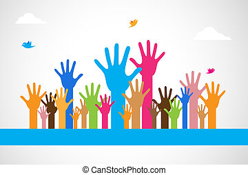 Vector Colorful Raised Hands - easy to edit vector...