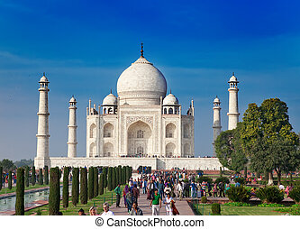 A crowd of tourists visit Taj Mahal on January 28, 2014 in...