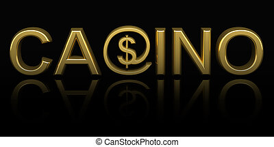 Casino text with money online symbol isolated on black