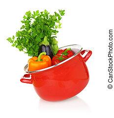 coloridos, legumes, Cozinhar, isolado, fundo, branca, pote, vermelho