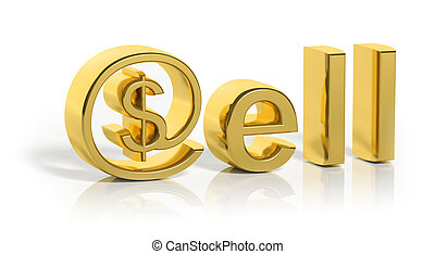 3D gold sell text with web money symbol isolated