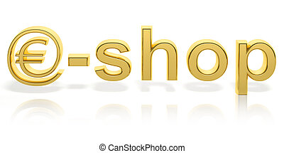 3D gold e-shop text with web money symbol isolated