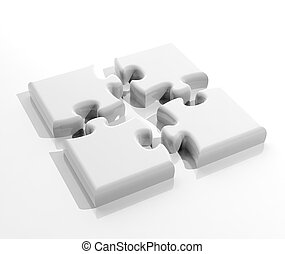 Jigsaw puzzle pieces isolated on white background