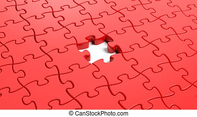 Jigsaw puzzle red blank template with one piece missing