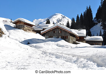 Savoie village in winter - cottages of Savoie village in the...