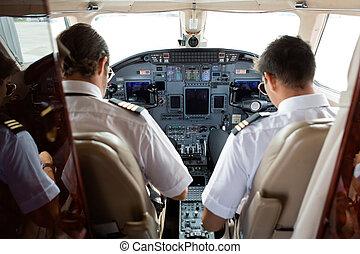 piloto, y, Copiloto, en, Cabina de piloto