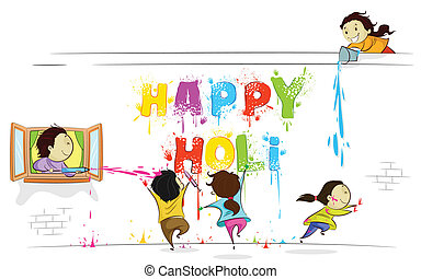 Kids enjoying Holi - easy to edit vector illustration of...