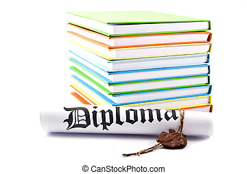 diploma and books on a white background
