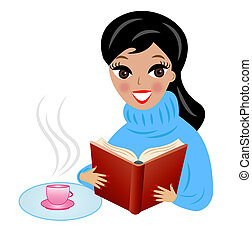 woman with book and cup of tea - young woman with book and...