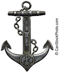 Metal anchor isolated against a white background