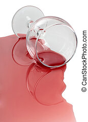 Wineglass and alcohol - Broken glass and spilled red wine