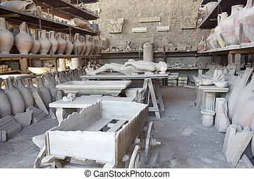 storage sheds in pompeii showing cast of body and pots - old...