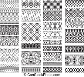Set of Vintage backgrounds, Guilloche ornamental Element for...