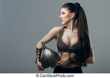 Girl warrior - Attractive young girl warrior in chain mail...