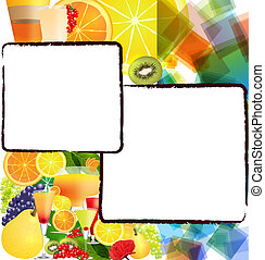 Background with fruits and cocktails