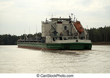 Oil barge - The Volga-Baltic waterway Oil barge on the river...