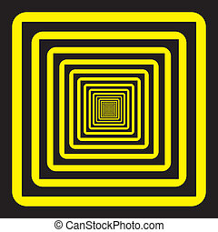 Abstract descending perspective frame black yellow background