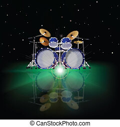 abstract music background with drum kit and green light