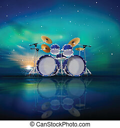 abstract music background with sunrise and drum kit -...