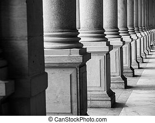 Row of columns in black and white Karlovy Vary, Czech...