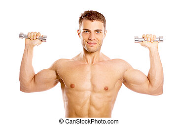 Well Shaped - Muscular and tanned male during excersing with...