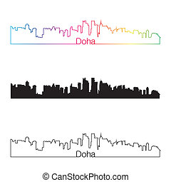Doha skyline linear style with rainbow in editable vector...