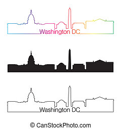 Washington DC skyline linear style with rainbow in editable...