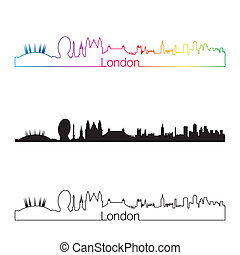 London skyline linear style with rainbow in editable vector...