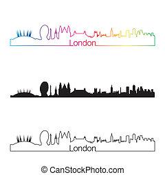 London skyline linear style with rainbow in editable vector...