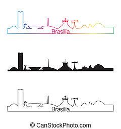 Brasilia skyline linear style with rainbow in editable...