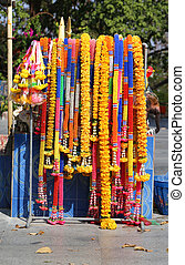 sacred flower garlands - colorful brightly coloured sacred...