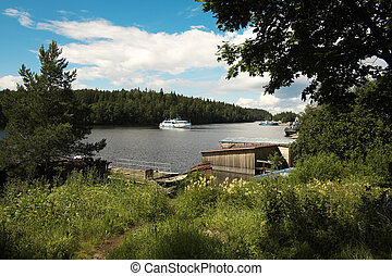 Island Valaam Monastery Bay Port Passenger ship approaches...