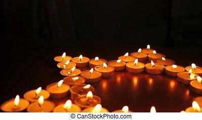 Candles Jewish Star of David Dolly - Circular, shallow depth...