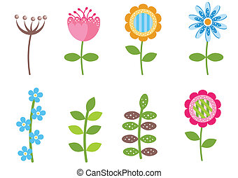 Retro flowers isolated - Great for greeting cards, Spring,...