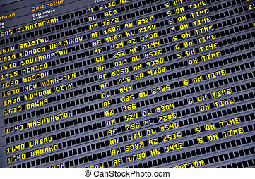 Timetable board - Detail view of an information board in an...