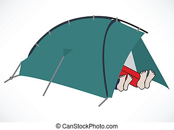 Two tourists resting in a tent illustration